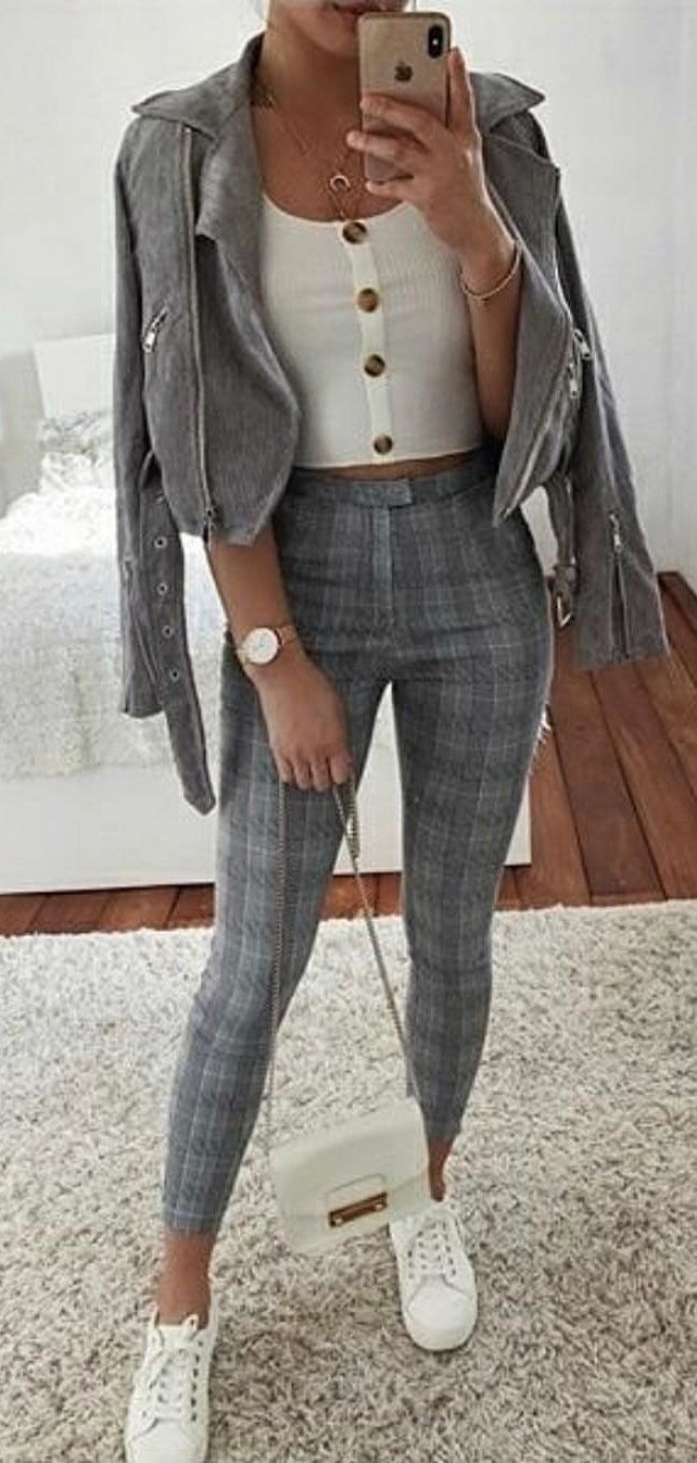 gray zip-up jacket #spring #outfits