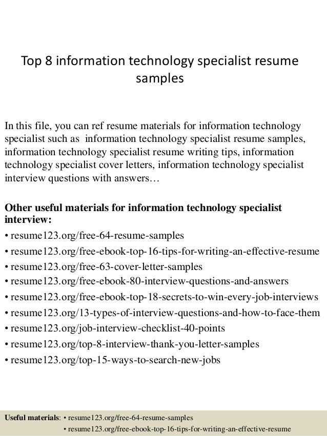 technology specialist sample resume example information - Information Technology Resume Template