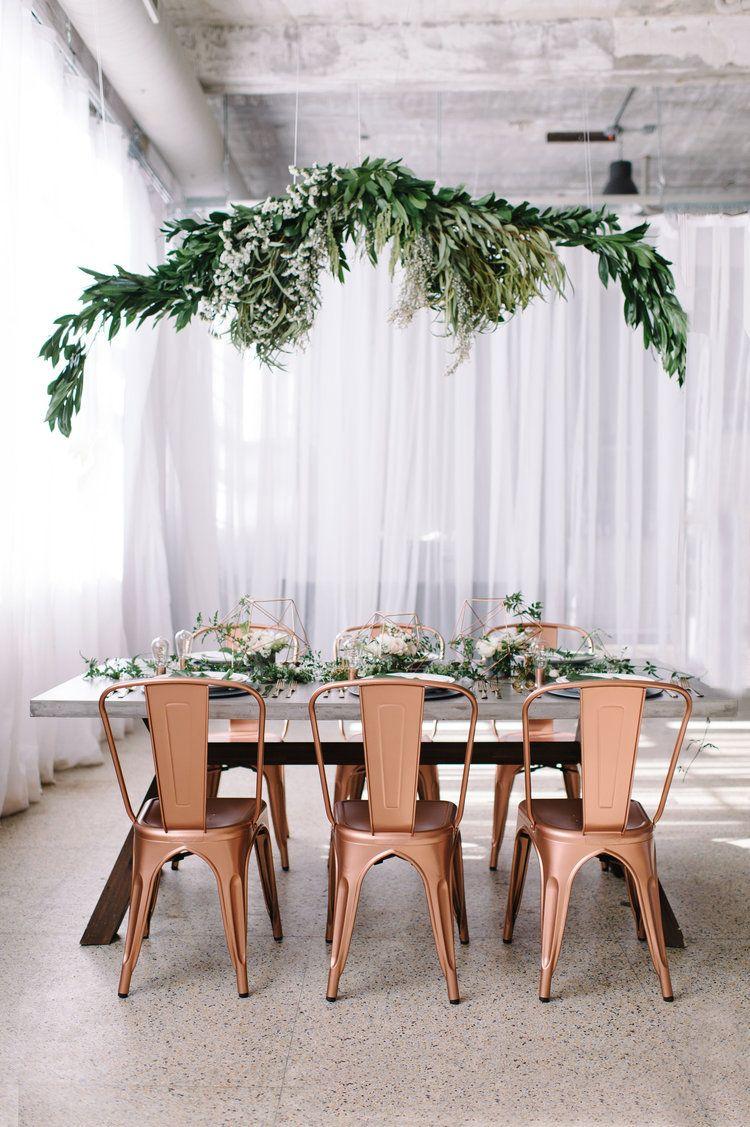 industrial modern rose gold wedding reception ideas