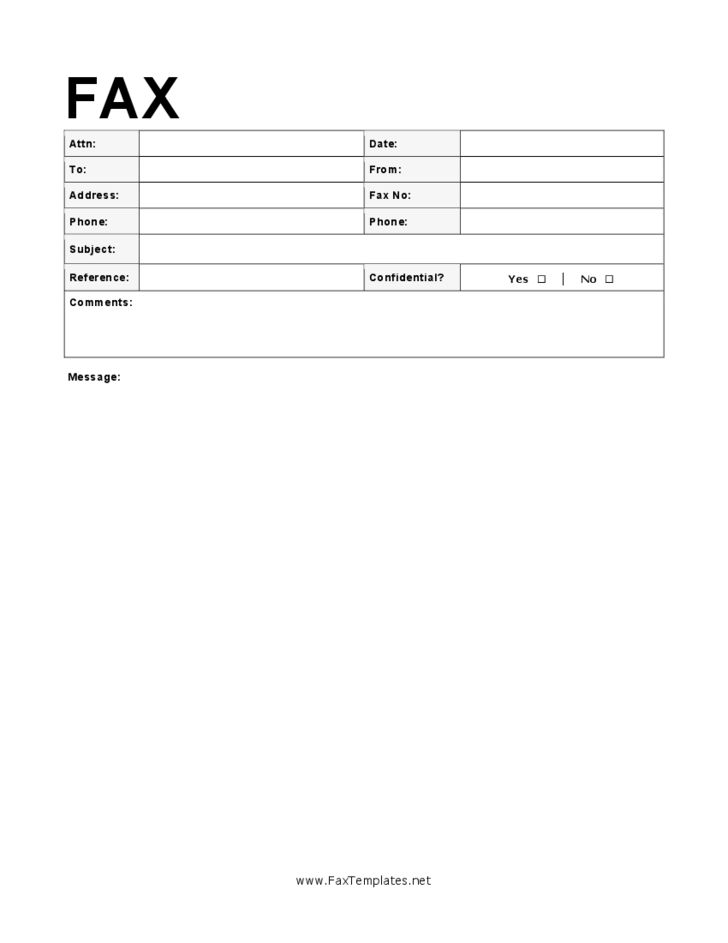 fax template cover sheet