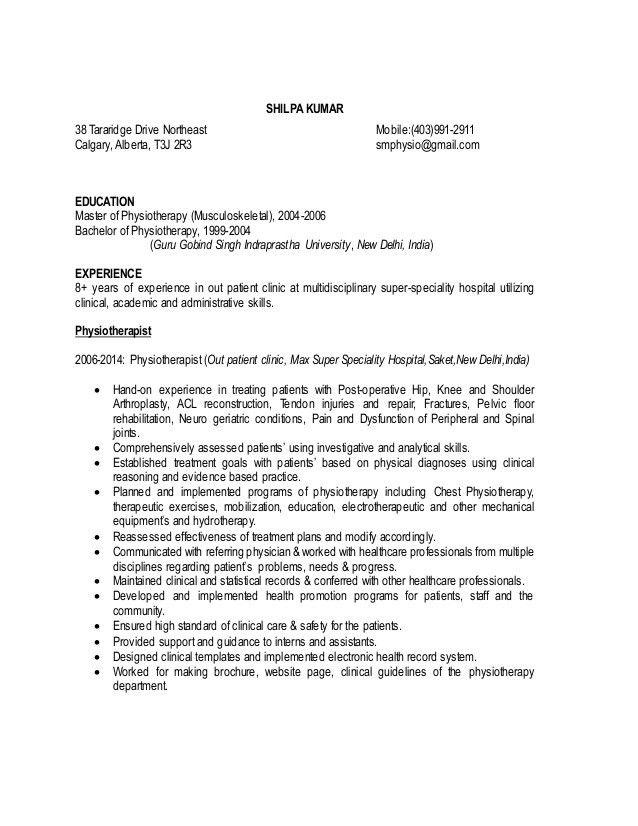 physiotherepist resume