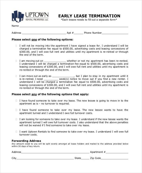Early Lease Termination Letter Template Free Notice Of Lease - lease termination form