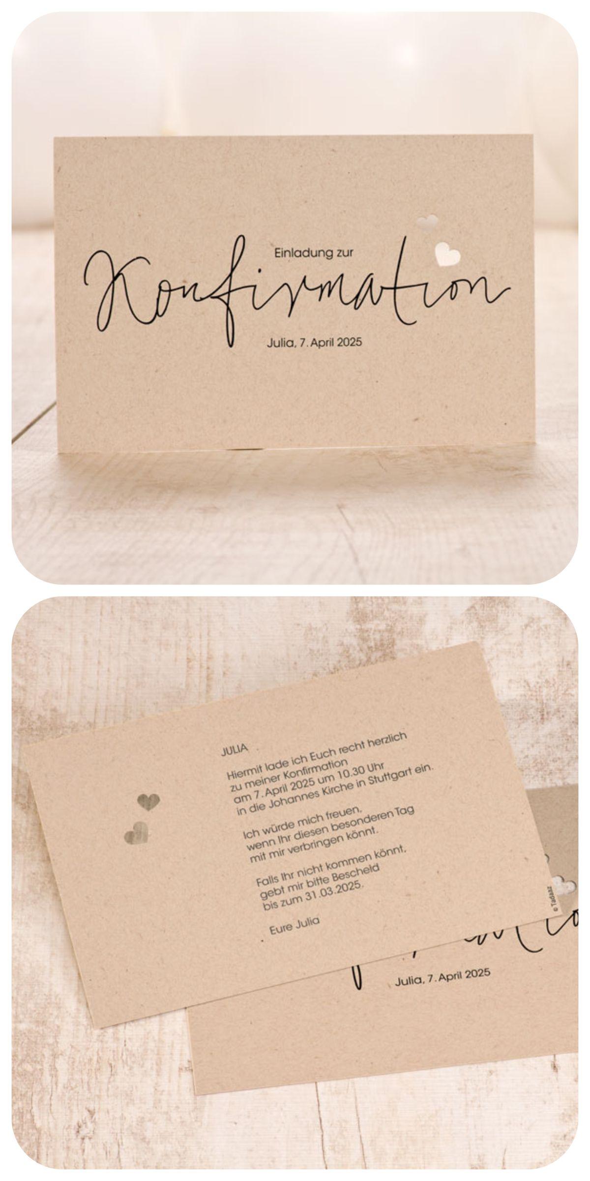 Ihre Konfirmationskarte in Kraftpapieroptik! #Kraftpapier #Konfirmation #Einladung #Lasercut