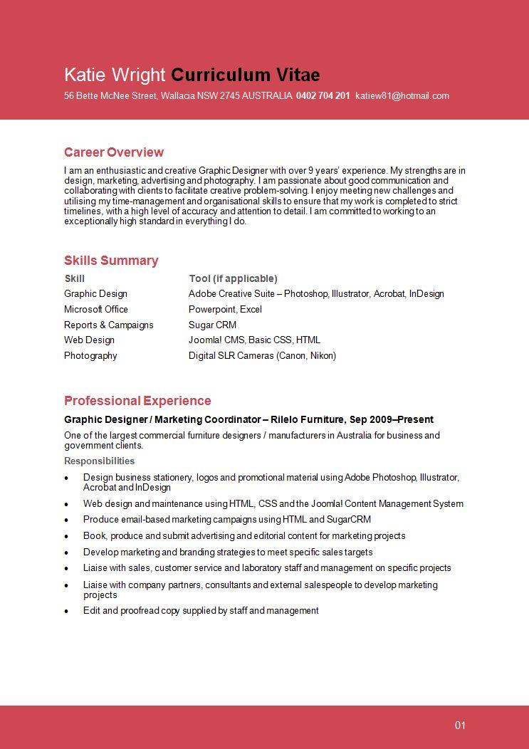 Sample Designers Resume Example Graphic Design Careerperfectcom