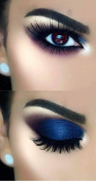 Bright blue eye makeup with nice earrings
