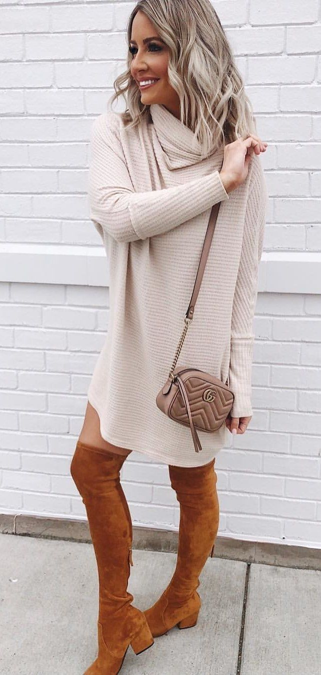 brown long sleeve dress #winter #outfits