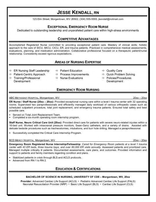 Emergency Room Nurse Sample Resume Er Nurse Resume Example Nurse