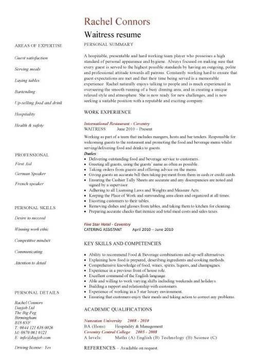 Sample Of Waitress Resume Free Server Resume Example Server