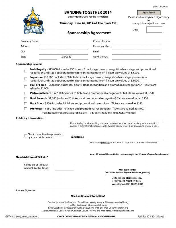 Template Sponsor Form Sponsorship Form Template Free Printable - sponsorship contract template