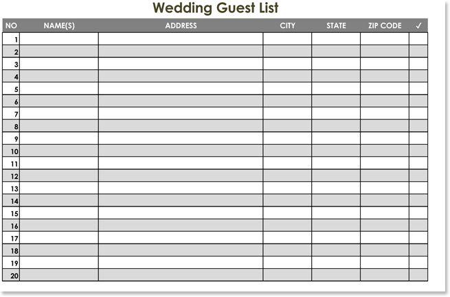 Printable Wedding Guest List Spreadsheet Sample Wedding Guest - wedding guest list template
