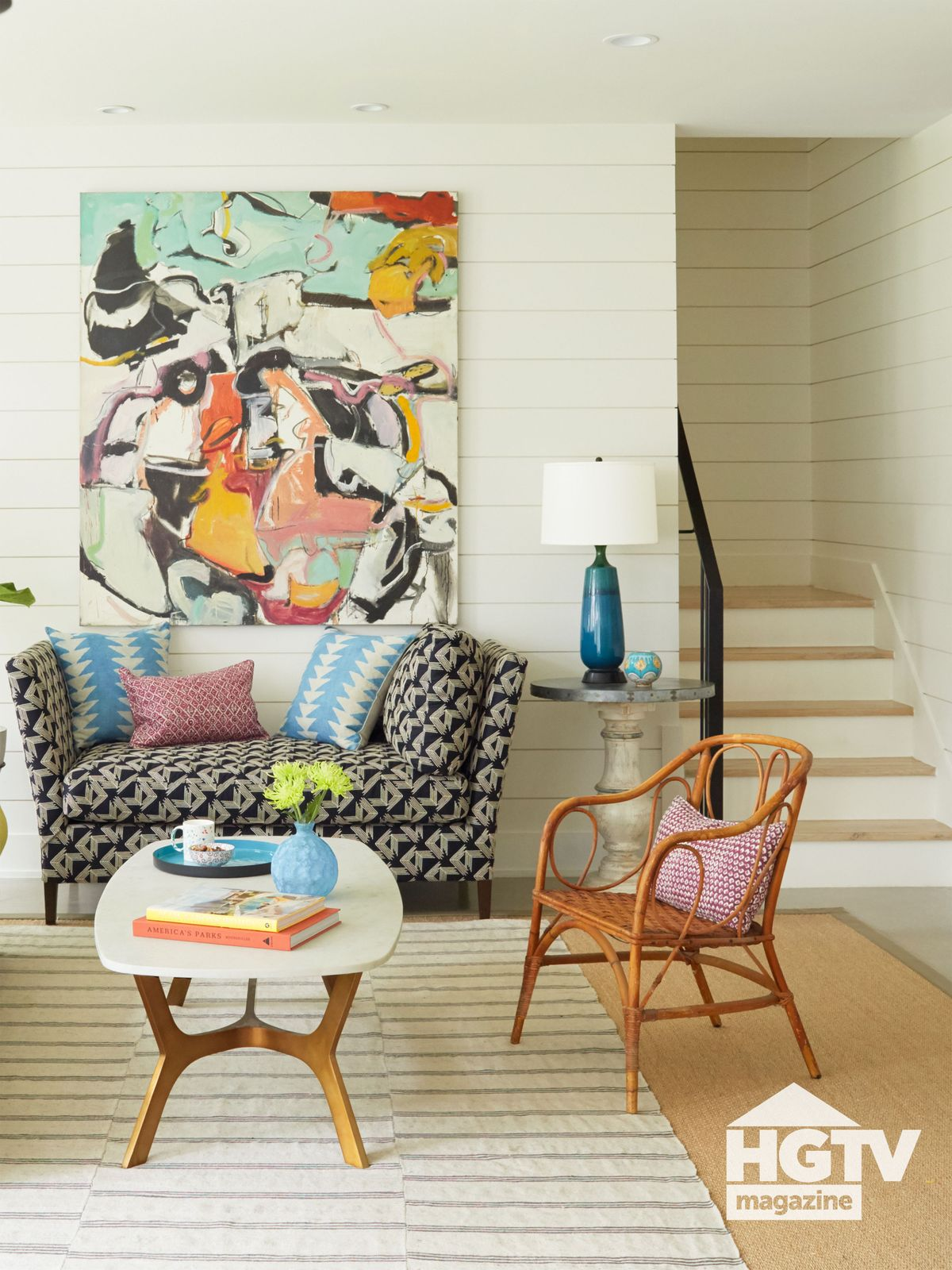 A neutral living room with splashes of color from HGTV Magazine