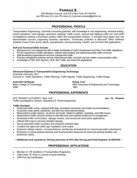 Transportation Resume Examples - Examples of Resumes