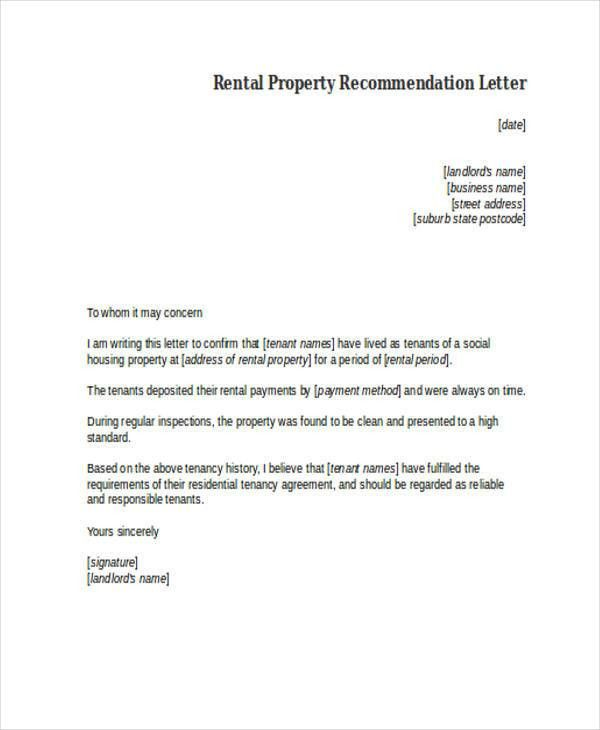 Rental Recommendation Letter 7 Rental Reference Letter Templates - rental reference letter