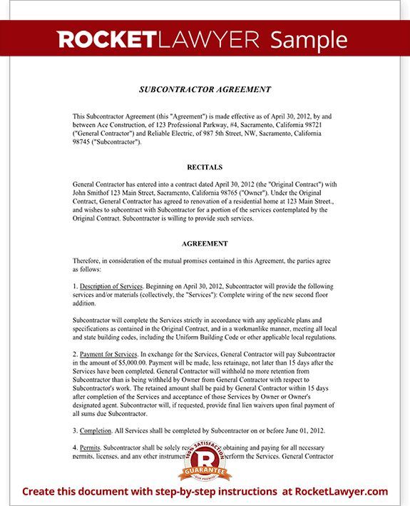 Subcontractor Contract Sample Subcontractor Agreement Template - sample subcontractor agreement