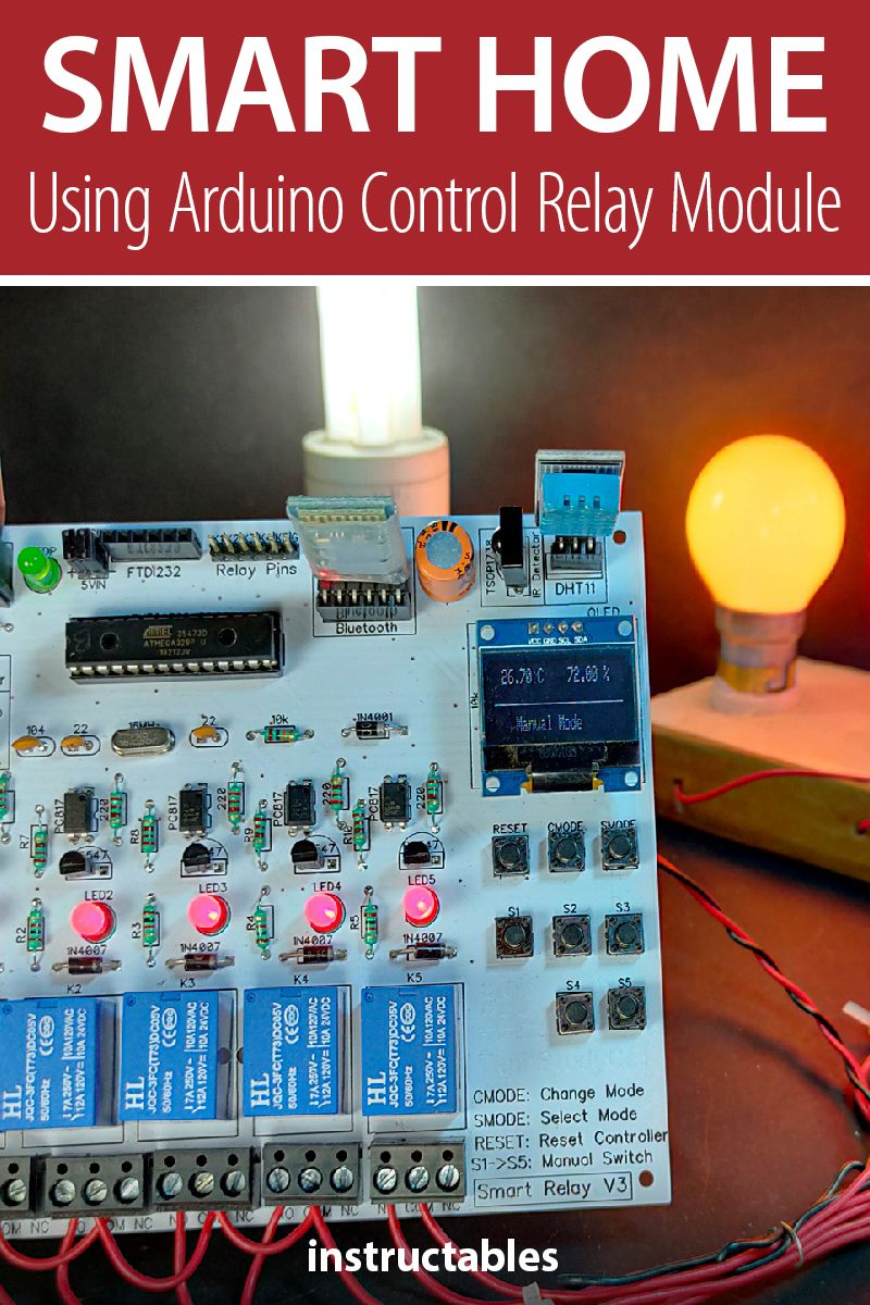 This smart home relay module can control 5 home appliances and be controlled by mobile/smartphone, IR remove, TV remote, or manual switch. It can also sense room temperature and sunlight. #Instructables #electronics #technology #Arduino #automation
