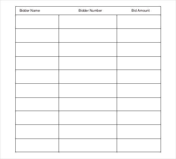 Blank Sign Up Sheet 40 Sign Up Sheet Sign In Sheet Templates Word - sample silent auction bid sheet