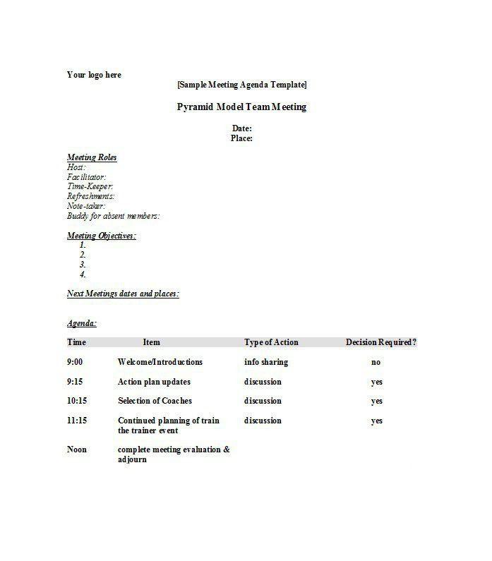 Meeting Plan Template Free Meeting Agenda Template Sample Meeting - sample conference schedule template