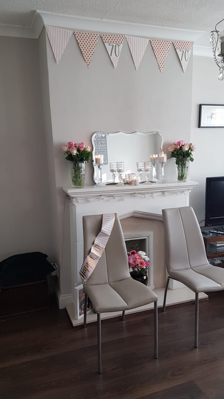 Gold White And Pale Pink 70th Birthday Decoration