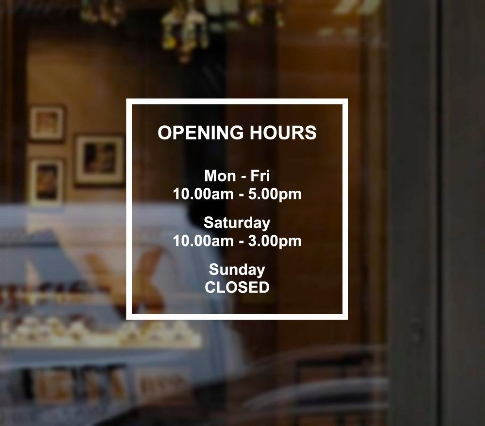 Custom Business Opening Hours Times Sign Windows Sticker Decal for shop bar pub cafe barber salon (Design N) by pieceofprint on Etsy