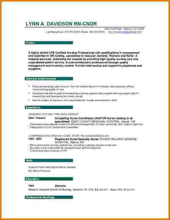 Registered Nurse Sample Resume Nursing Resume Sample Writing