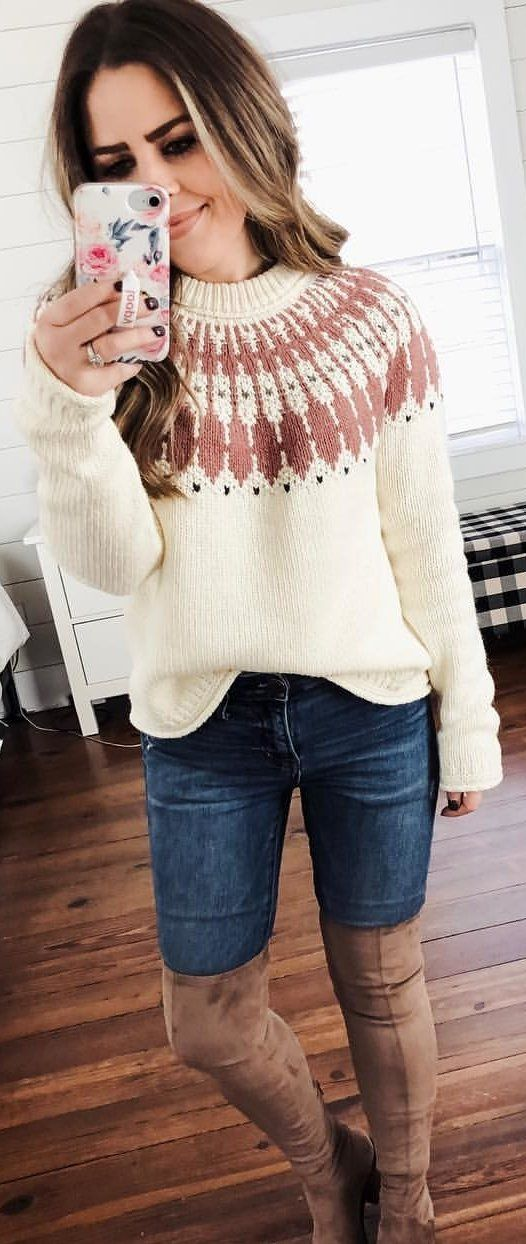 white and brown crew-neck knit sweater