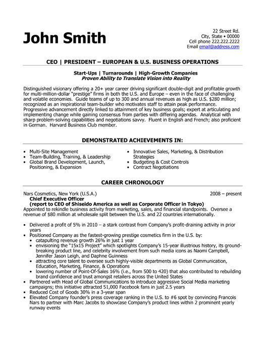 Sample Ceo Resumes Example Executive Or Ceo Careerperfectcom - examples on how to write a resume