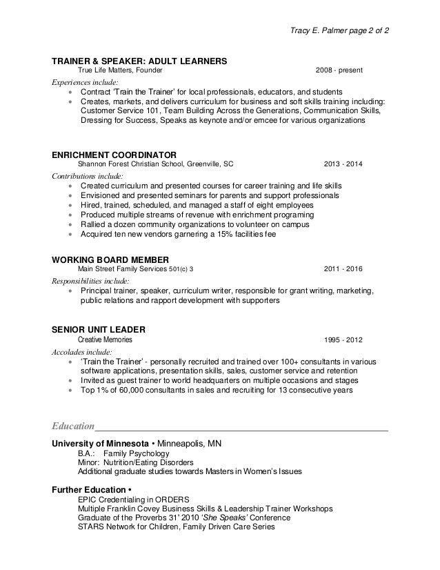 soft skills trainer sample resume