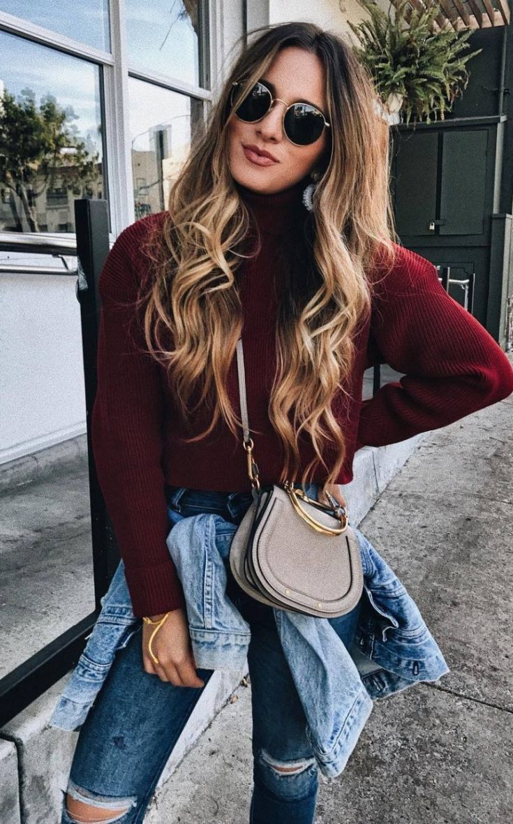 cool outfit idea to try this fall / burgundy sweater + bag + denim jacket + rips