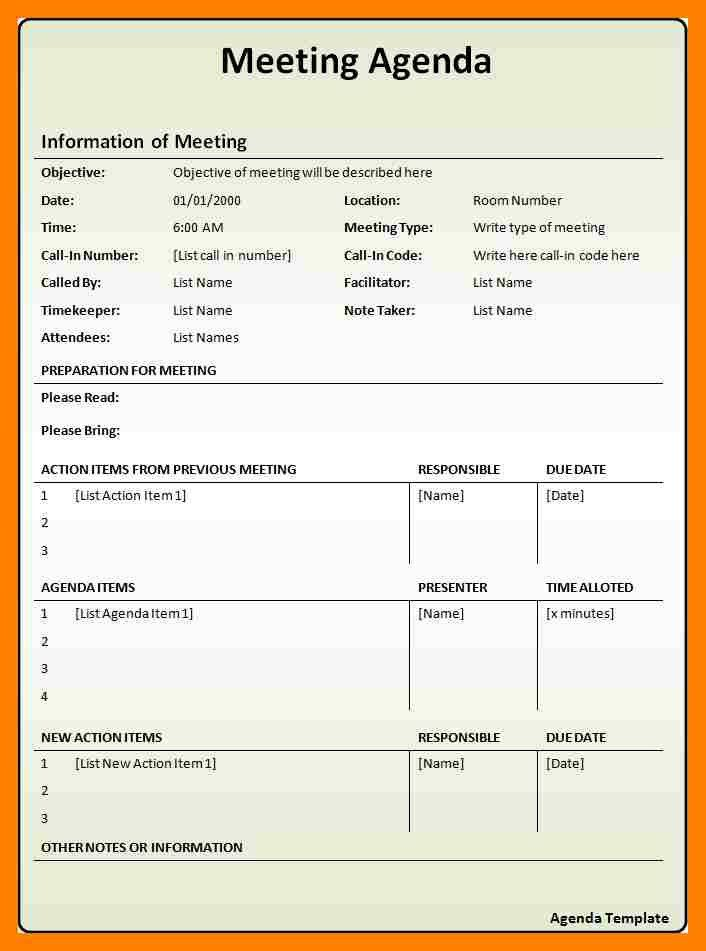 Format Of An Agenda Free Meeting Agenda Template Sample Meeting - sample conference schedule template