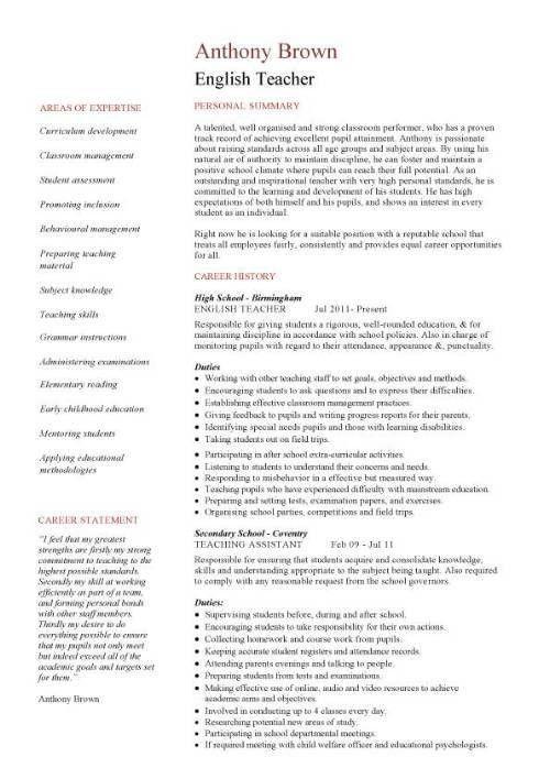 english teacher job description