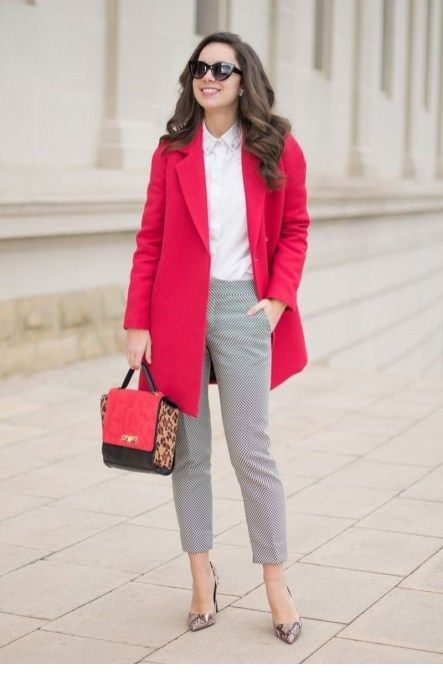 White shirt, grey pants and red coat