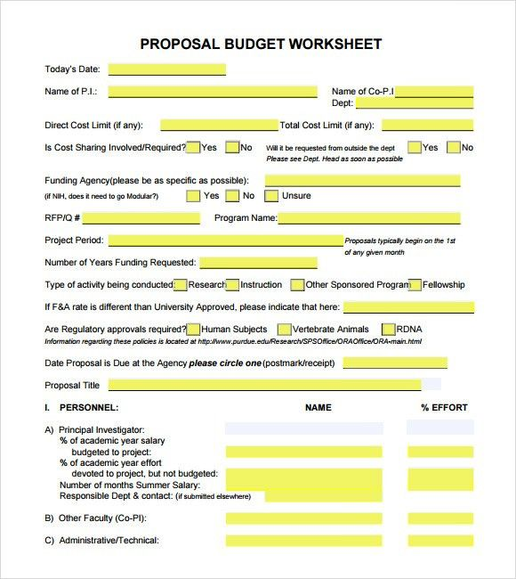 Budget Proposal Template Word Budget Proposal Template 9 Free - budget proposal
