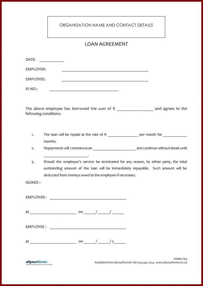 Loan Document Template 5 Loan Agreement Templates To Write - loan contract sample