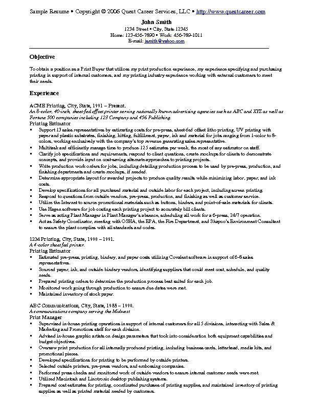 printing company general manager resume