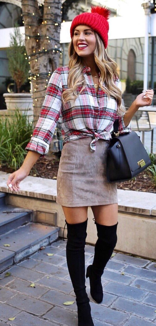white and red plaid flannel shirt and brown skirt