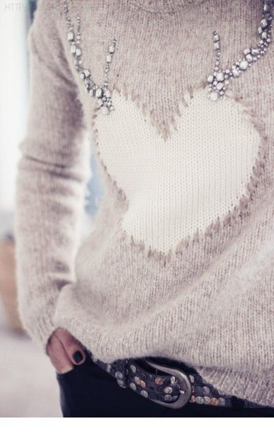 Heart sweater for winter