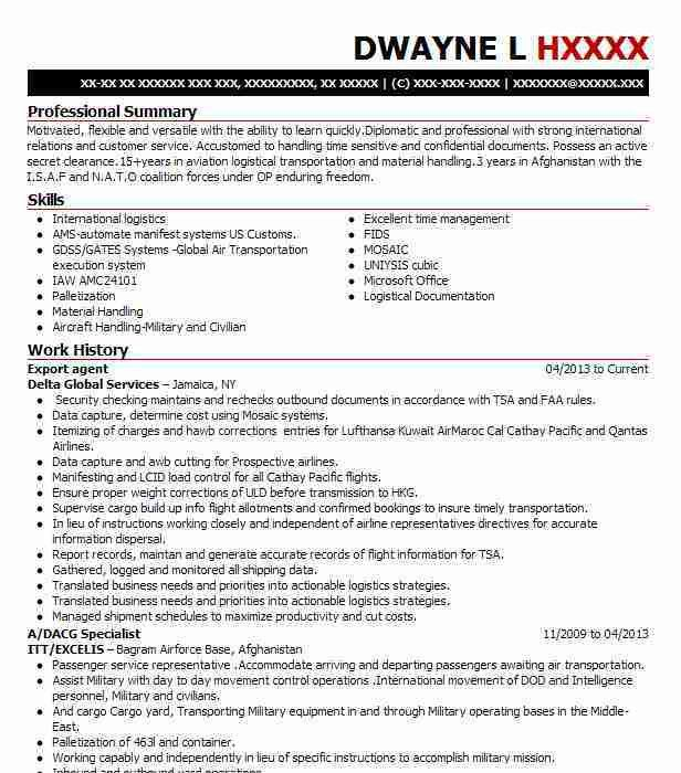 Export Agent Sample Resume Export Agent Resume Example Exporter