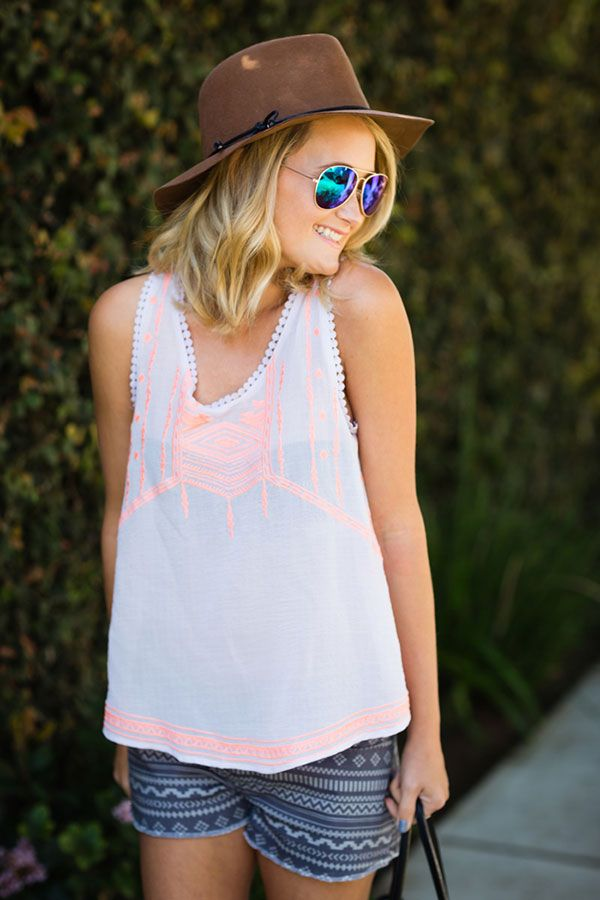 Reflective sunnies, embroidered top, and printed shorts {summer}