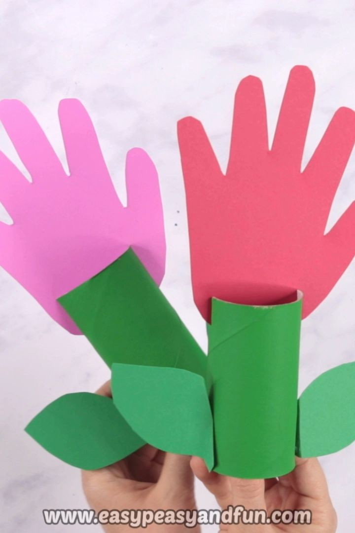 Paper Roll Handprint Flowers – Mother's Day Craft for Kids