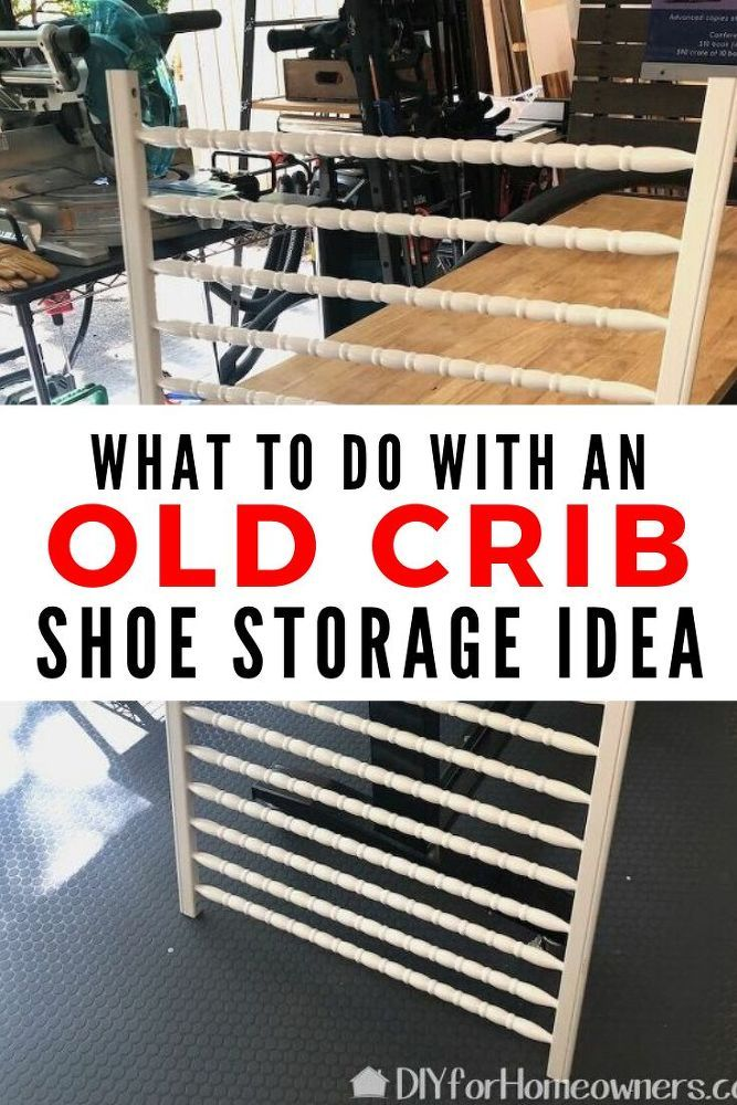 How to Make a DIY Vertical Shoe Storage From Two Crib Rails