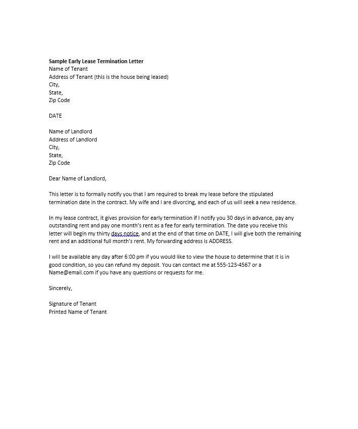 Sample Termination Letter Template Free Termination Letter - lease termination letter example