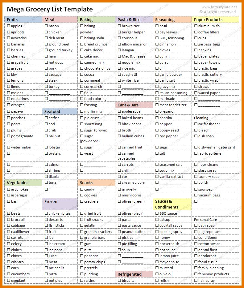 Sample Grocery List Template Sample Grocery List Template 9 Free - grocery list sample