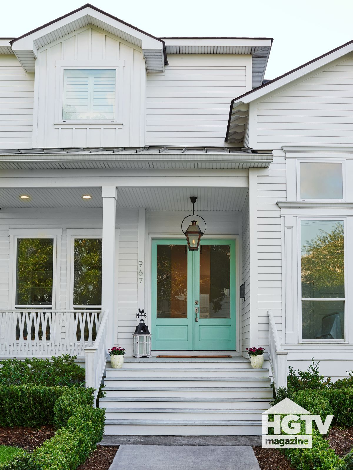 A white and teal home from HGTV Magazine