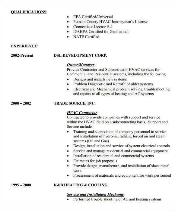 Entry Level Hvac Resume Sample Unforgettable Hvac And - sample hvac resume