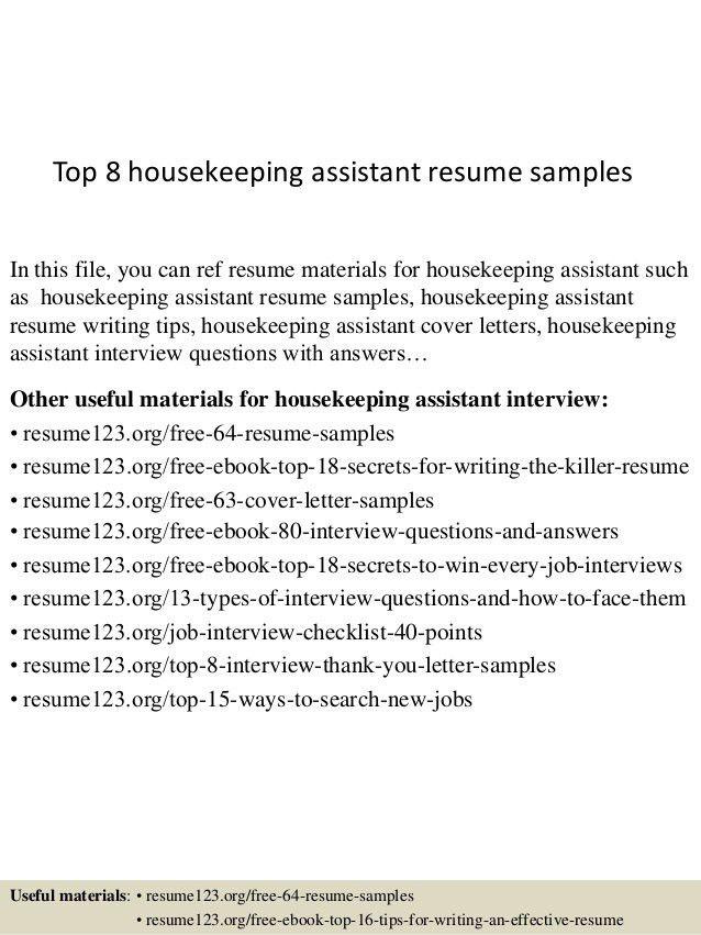 Sample Resume Of Housekeeping Unforgettable Housekeeping Aide - resume for housekeeping