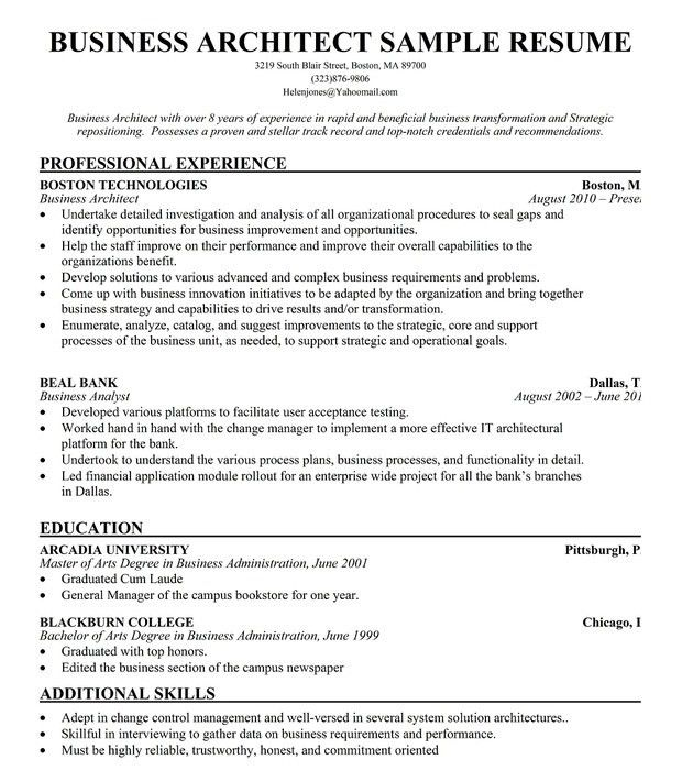Business architect cover letter