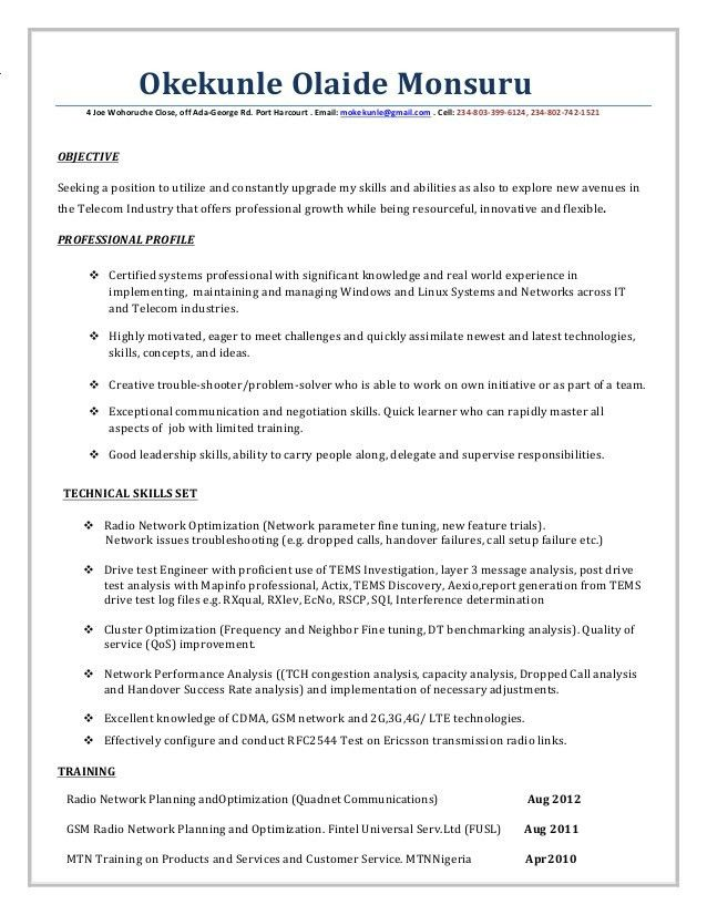 system engineer resume example