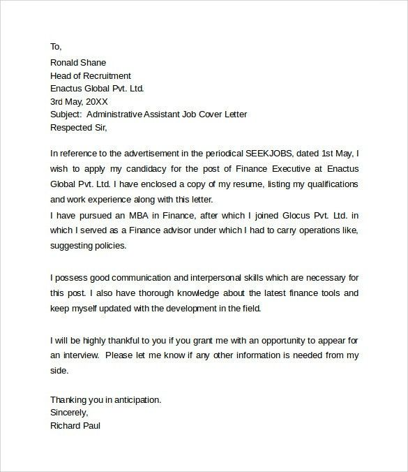 Cover Letters For Administrative Assistants Administrative - legal assistant resume