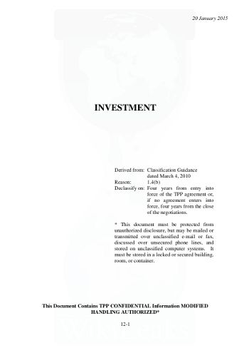 WikiLeaks   Secret Trans Pacific Partnership Agreement (TPP .  Investor Contract Template Free