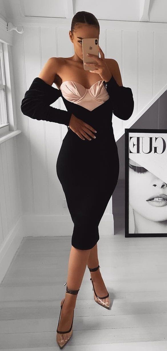 black long sleeve dress #spring #outfits